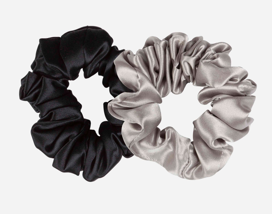 Silk Scrunchies - Silver & Black