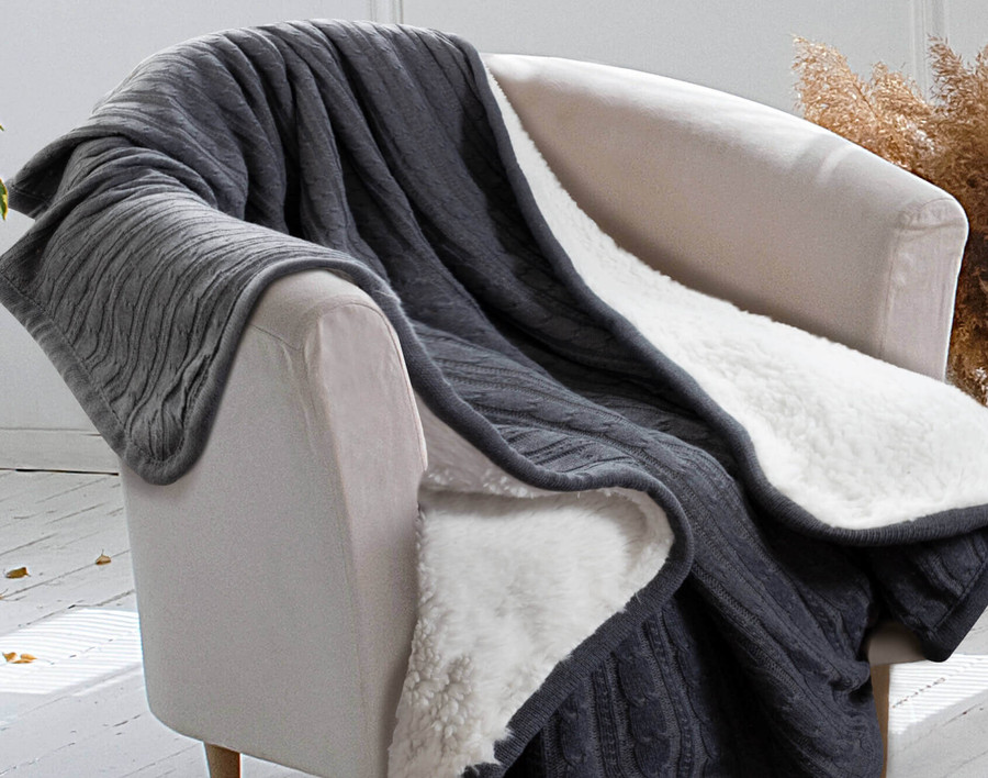 Cozy Knit Throw - Charcoal