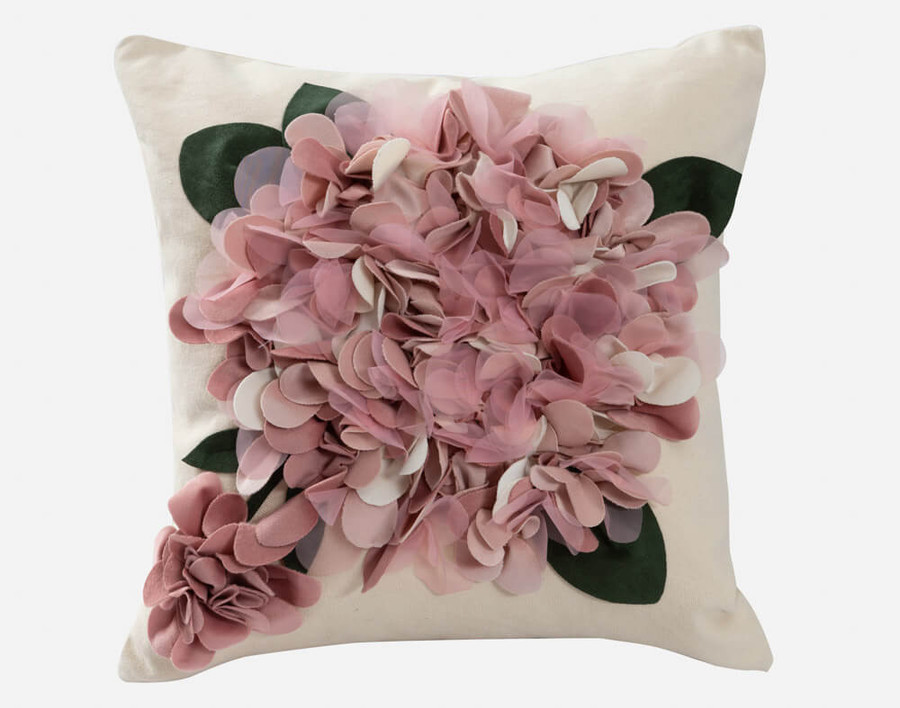 Hydrangea Textured Square Cushion Cover - Pink