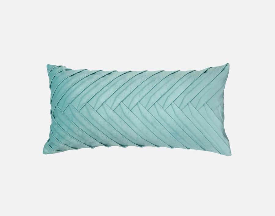Velvet Leaves Boudoir Pillow Cover - Cerulean