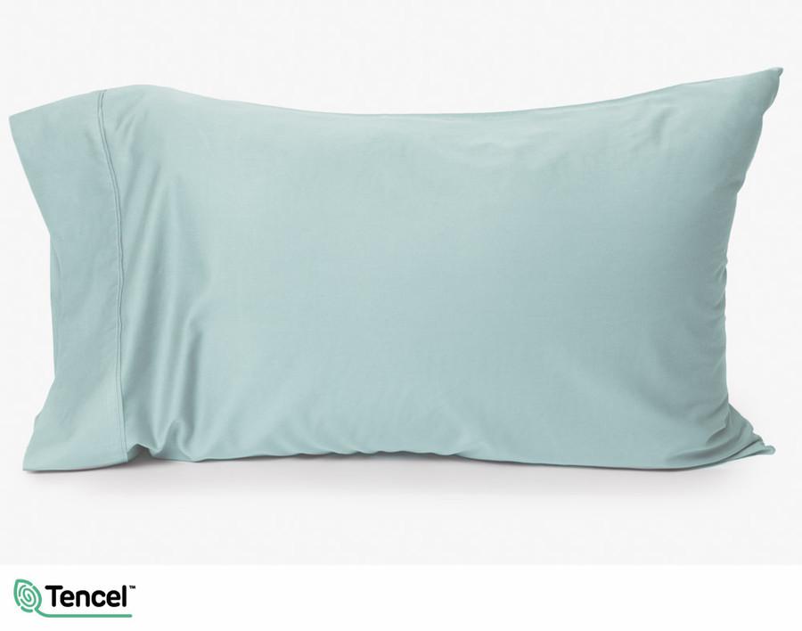 Eucalyptus Luxe pillowcase in Robin's Egg, a pale blue