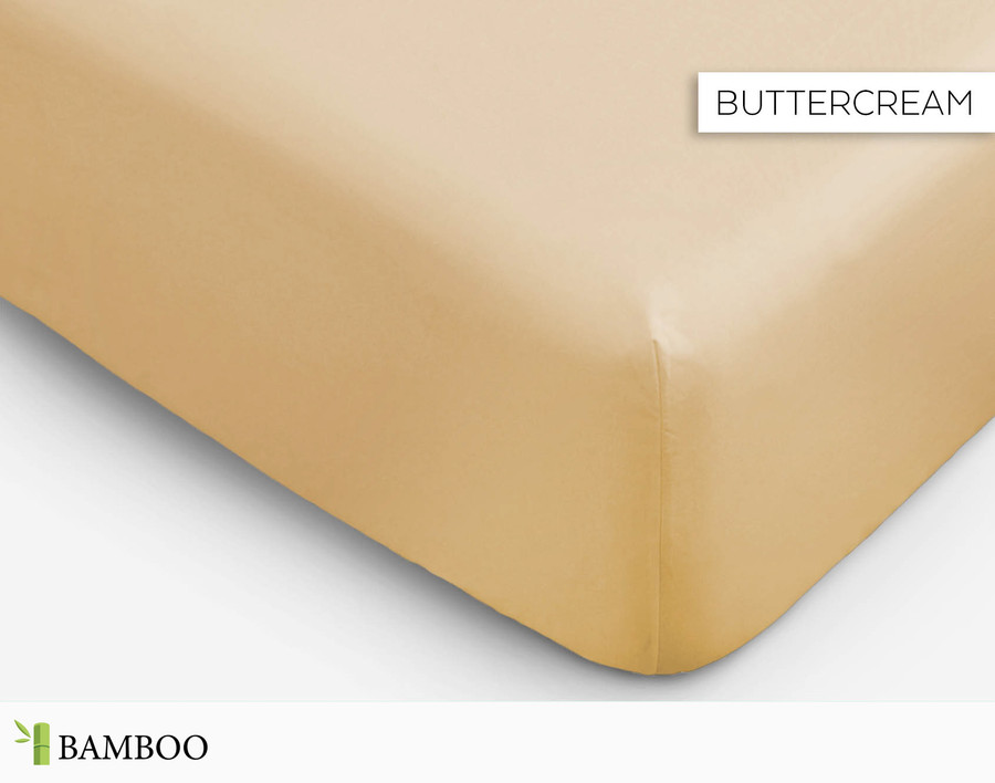 Bamboo Cotton Fitted Sheet in Buttercream, a pastel yellow
