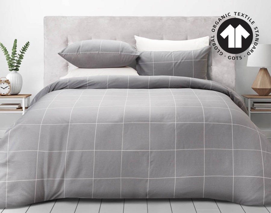 300TC Organic Cotton Duvet Cover Set in Fremont features a minimalistic box design with white outlines and light grey background.
