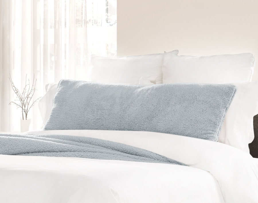 Teddy Lumbar Pillow in Arctic, a muted cool blue.