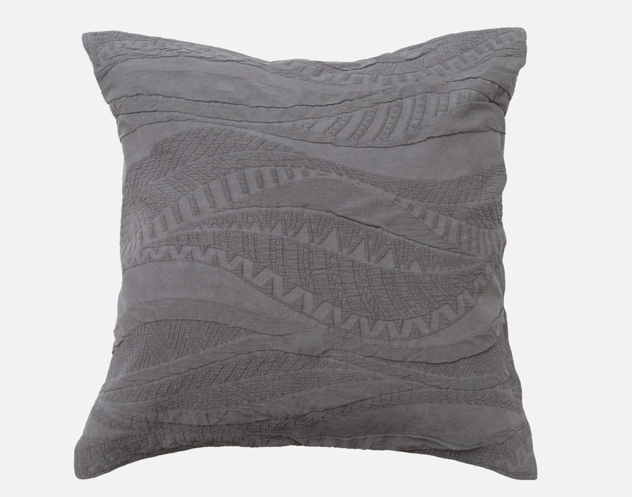 Noa Euro Sham in shades of charcoal grey.