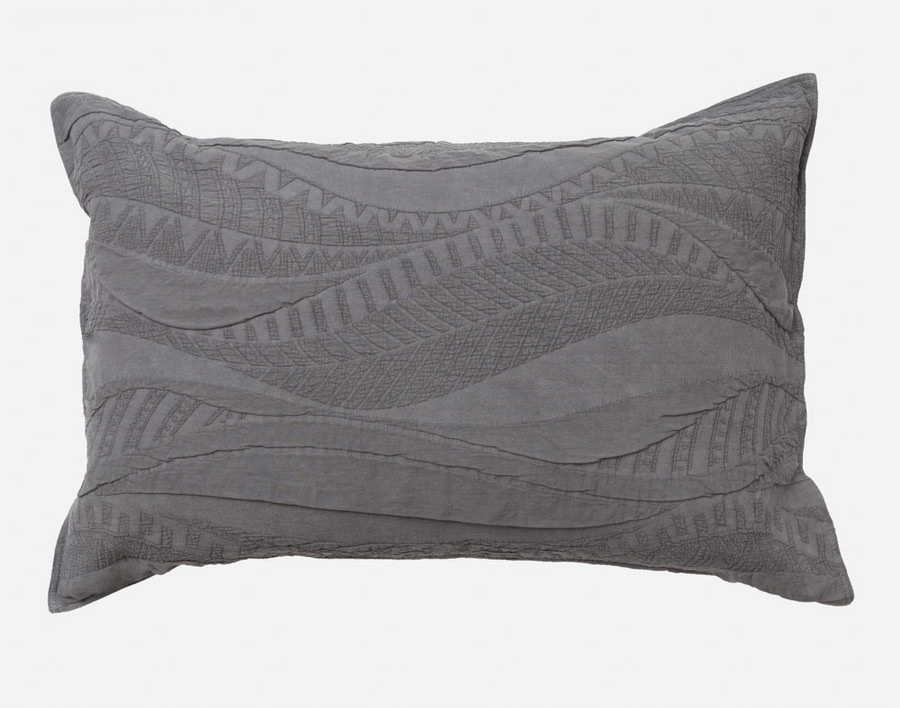 Noa Pillow Sham in shades of charcoal grey.