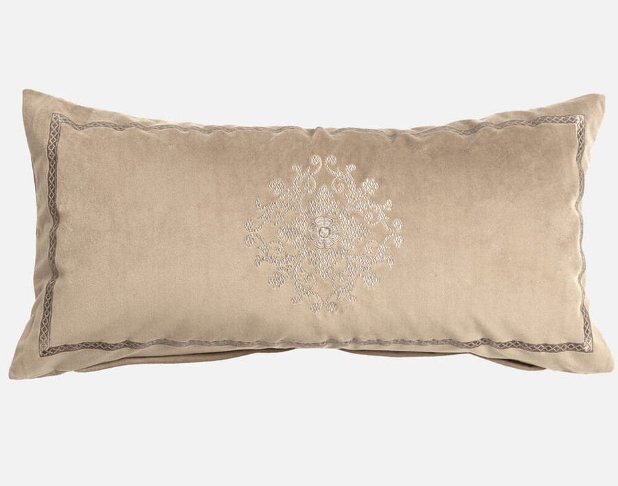 Tristan Boudoir Cushion Cover in tan with a crosshatch border and a tone on tone paisley symbol in the center.