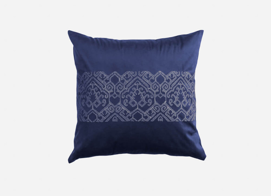 Sumatra Square Cushion Cover is a blue polyvelvet embroidered with silver tribal border.
