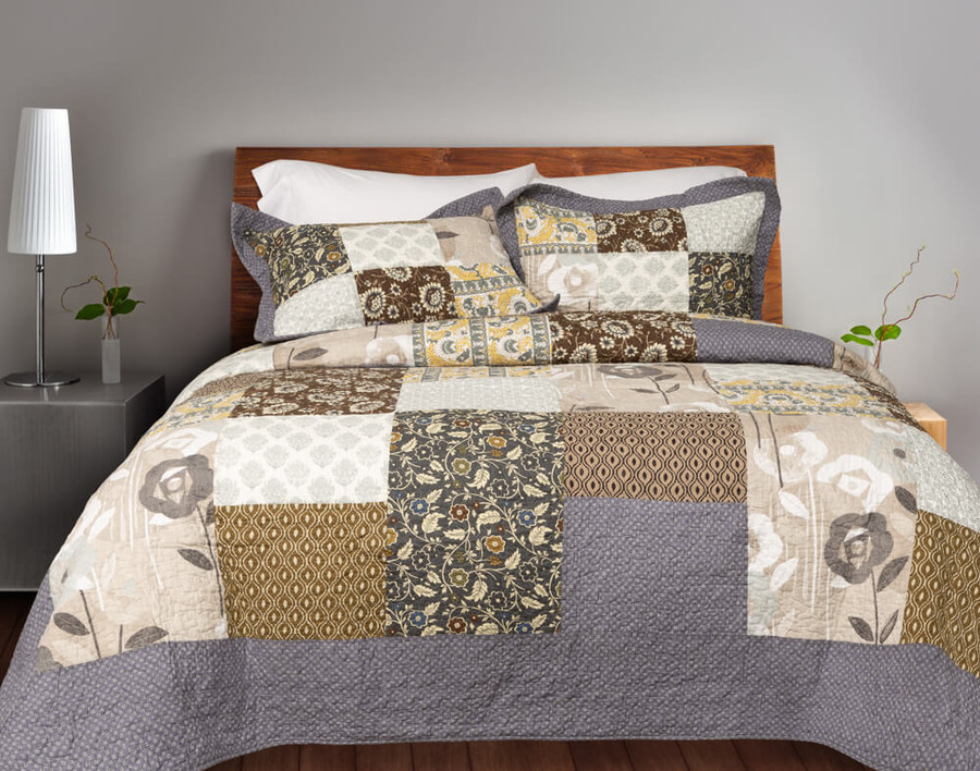 Callie Cotton Quilt Set with a traditional patchwork pattern