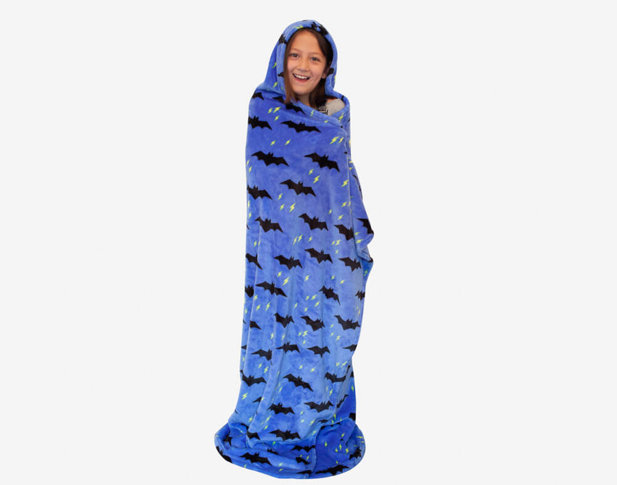 Bat Cape Throw features black bats and lightning bolts on a blue background.