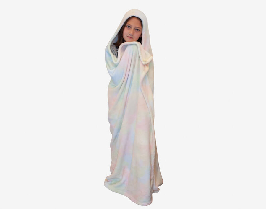 Tie Dye Cape Throw in shades of blue and pink on a white background