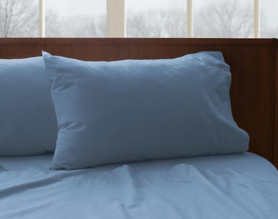 Flannel Cotton Sheet Set - Blue Ash