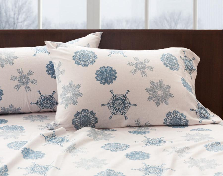 Flannel Cotton Sheet Set - Snowflake