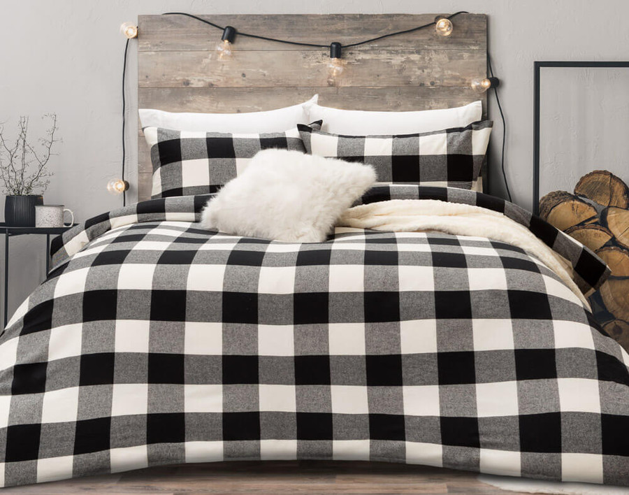 Rupert Flannel Duvet Cover Set in Black and White Plaid, front view.