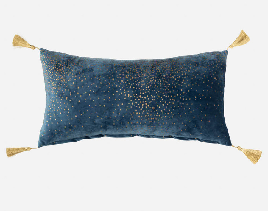 Panache Boudoir Cushion Cover features gold tassels and a printed starry sky gold pattern on a teal background.