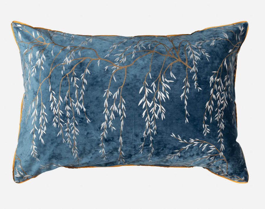 Panache Pillow Sham features Japanese-inspired willow branches in silver and antique gold printed on a beautiful deep teal velvet with gold piping.