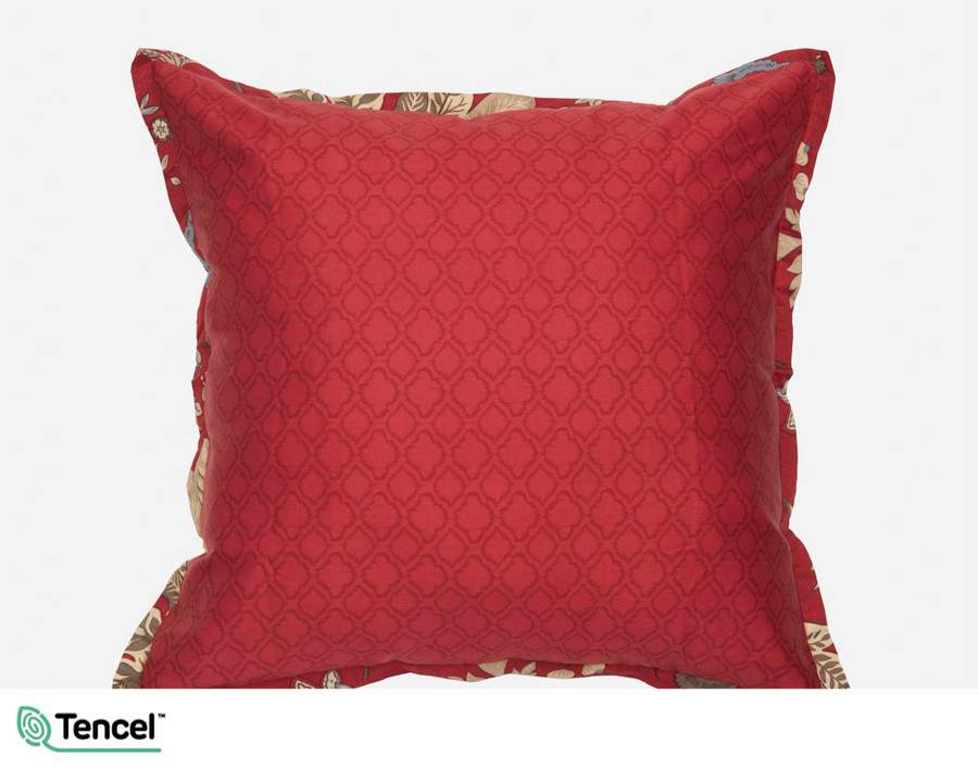 Stratford Euro Sham features a bold red trellis print.