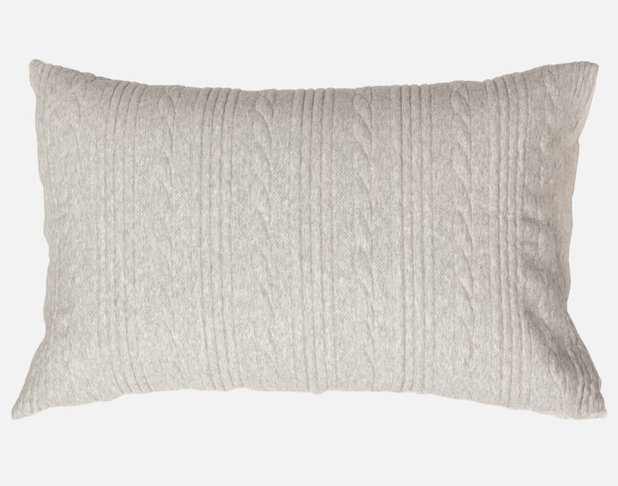 Estevan Pillow Sham featuring classic cable knit stripes in a light grey.