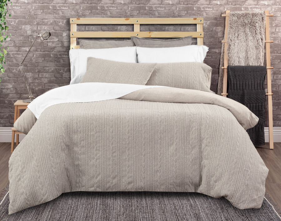 Estevan Bedding Collection features cable knit in a heathered grey.