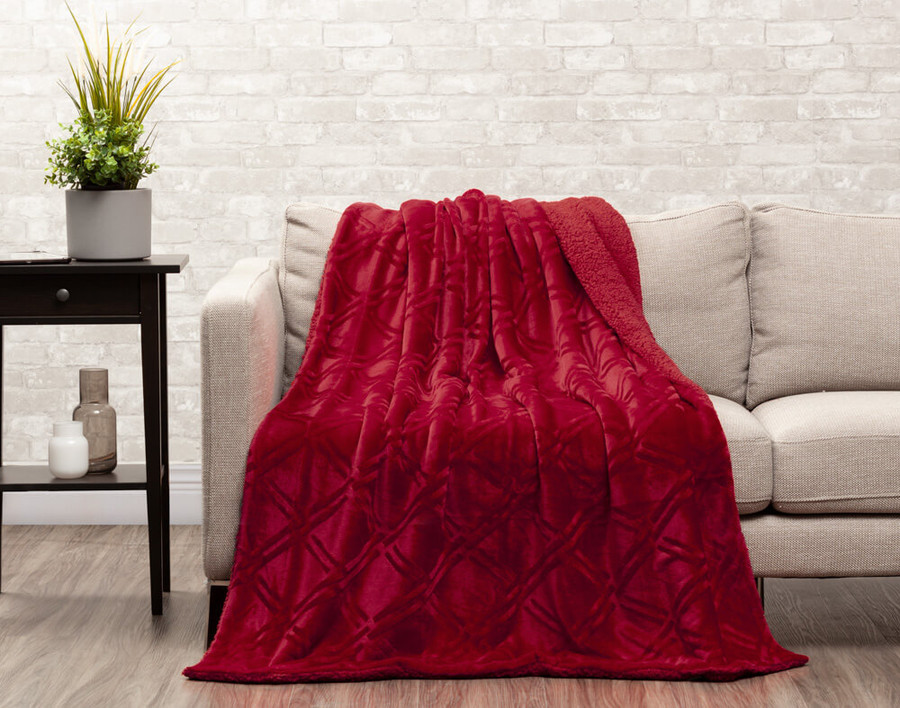Diamond Etch Throw in Ruby, a vivid red