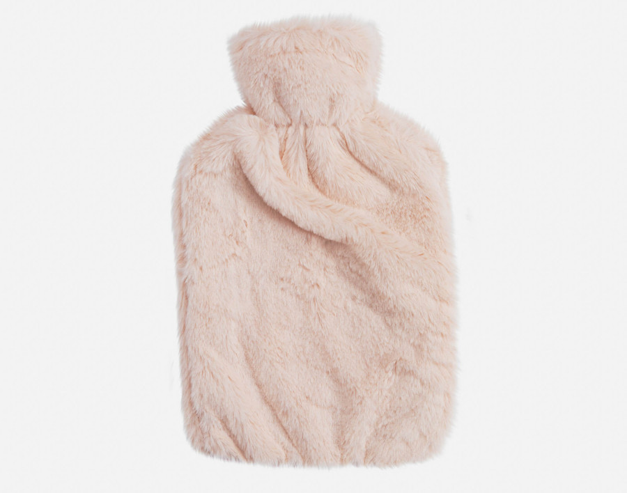 Faux Rabbit Plush Hot Water Bottle - Blush