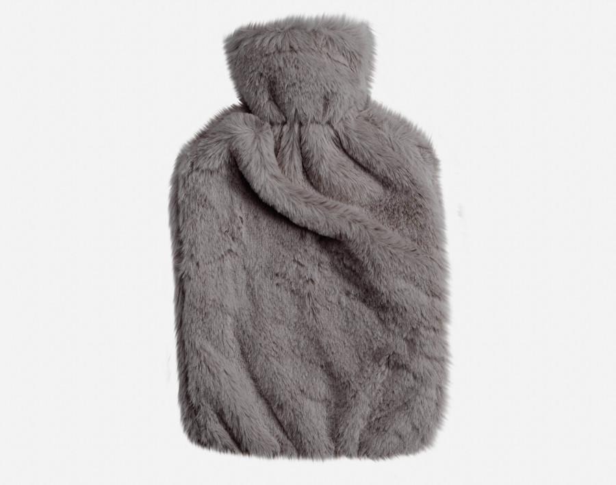 Faux Rabbit Plush Hot Water Bottle - Graphite