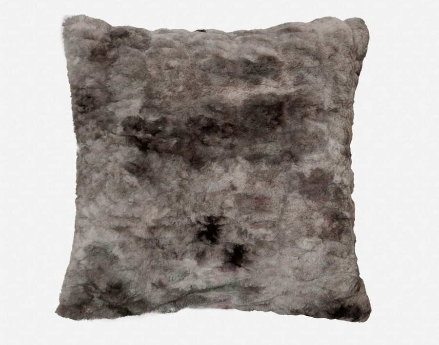 Carved Faux Fur Euro Sham in Pewter, a medium grey
