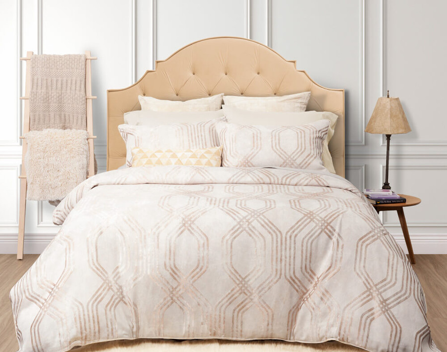 Mirasol Duvet Cover Set in beige with gold pattern, front view