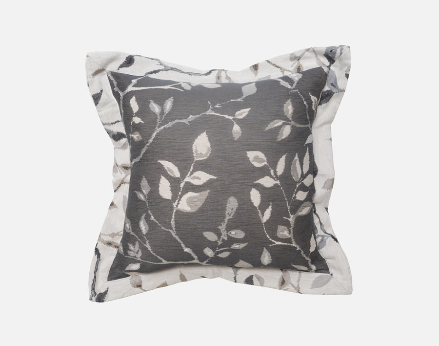 Brentwood Square Cushion Cover in a pewter grey accented by light grey flange and leaves.
