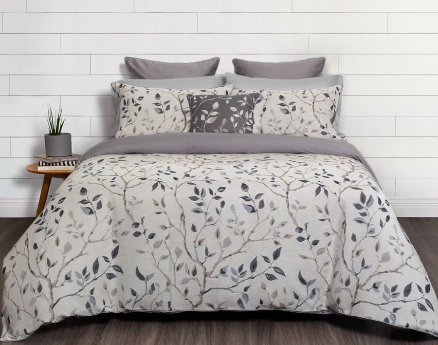 Brentwood Duvet Cover on bed in white bedroom