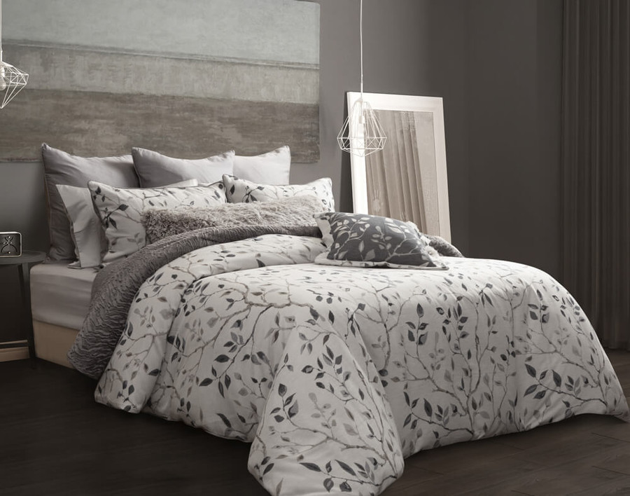 Brentwood Bedding Collection styled with grey accessories