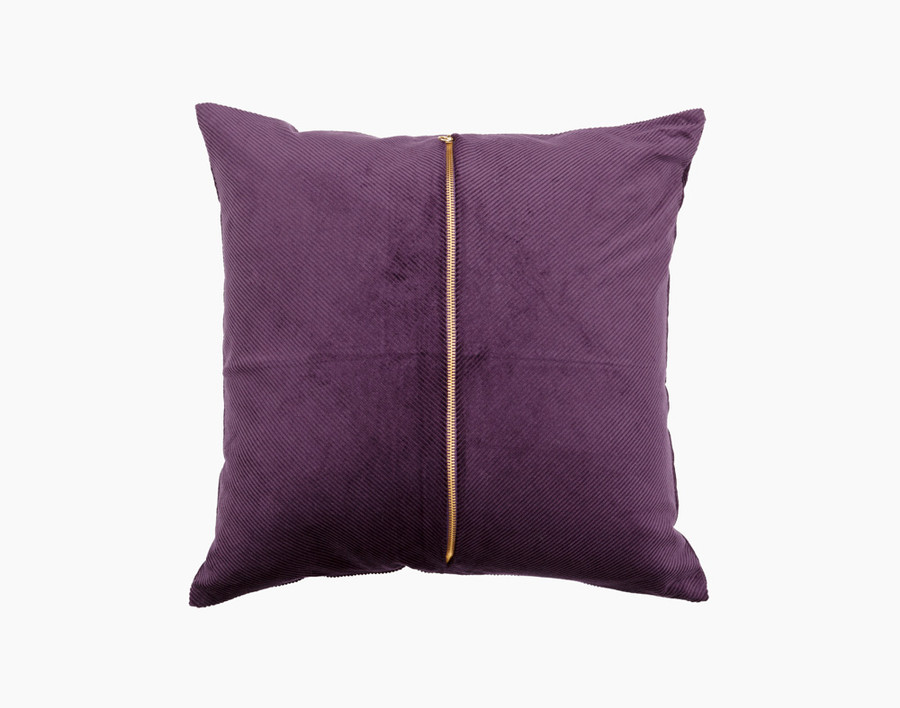 Chroma Square Cushion Cover comes in a rich purple corduroy and features a bold golden zipper vertically through the center.