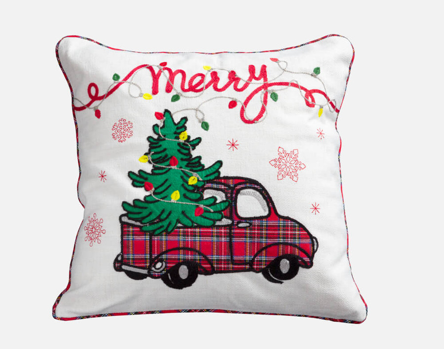 "Merry Truck Holiday Square Cushion Cover features a sweet red plaid pickup truck carrying a fully lit Christmas tree and a scrolling ""Merry"" along the top."