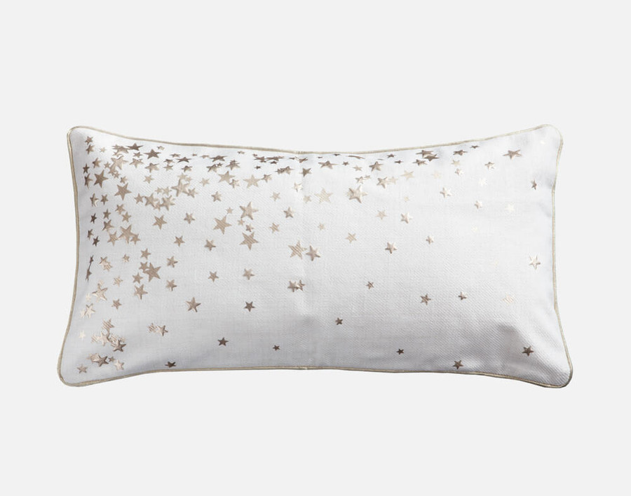 Sparkle Star Holiday Boudoir Cushion Cover features gold stars on an off white background.