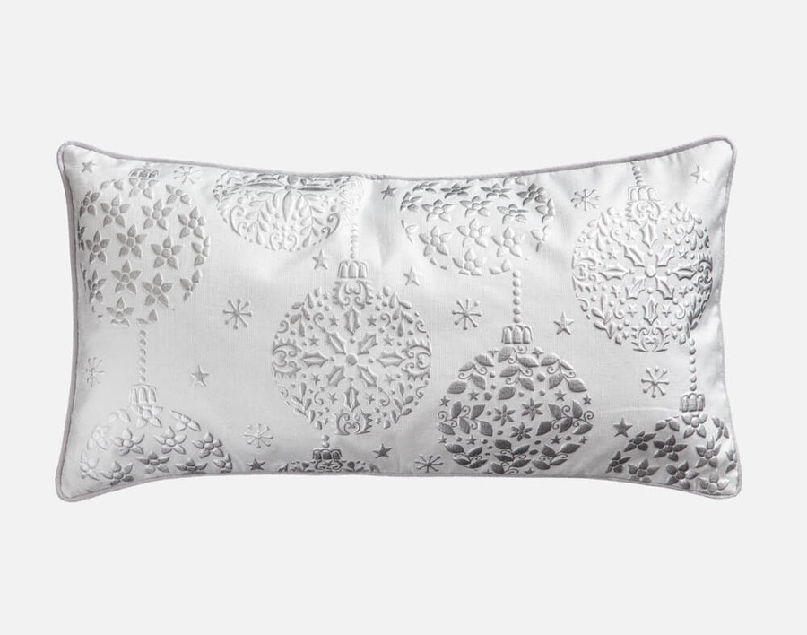 Silver Ornament Holiday Boudoir Cushion Cover features sparkly silver ornaments on a white background.