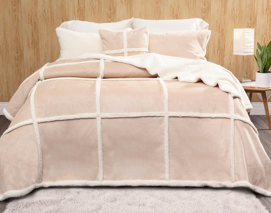 Windowpane Shearling Comforter Set in Caramel, a warm brown.