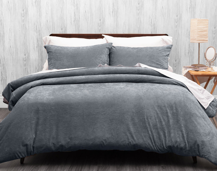 Corduroy Duvet Cover Set in Bluefin, a smoky grey.