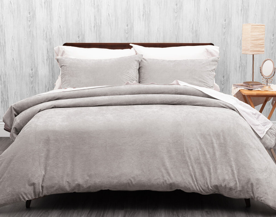 Corduroy Duvet Cover Set in Silver, a light grey.
