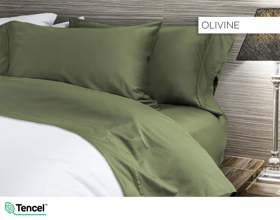 300TC TENCEL™ Lyocell Blend Sheet Set in Olivine, a deep olive green colour