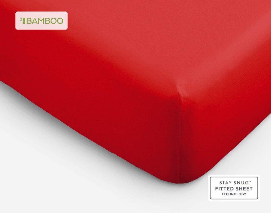 Bamboo Cotton fitted sheet in Tango Red.