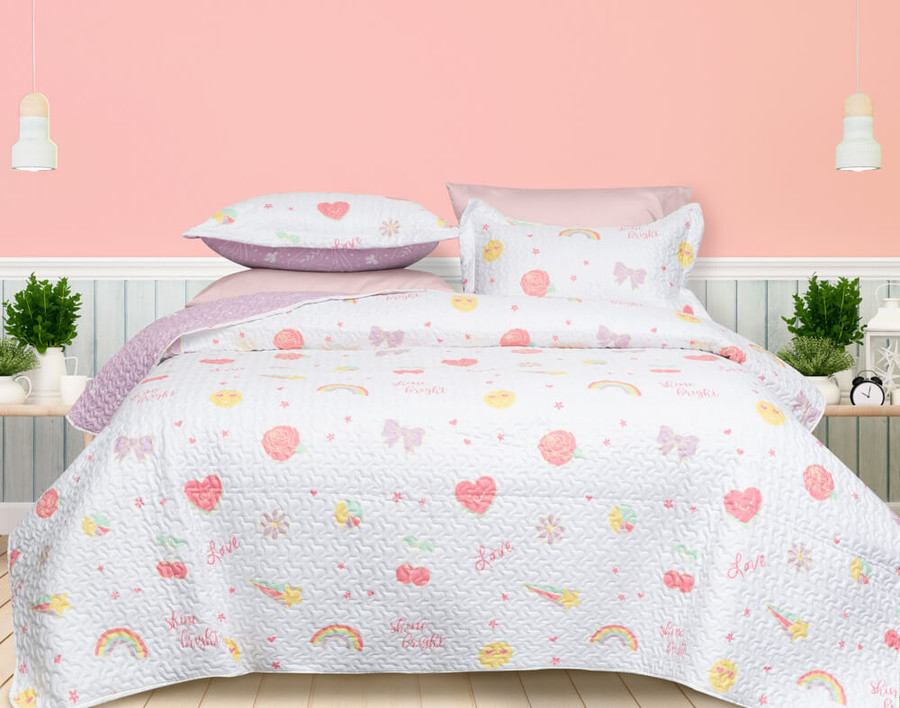 Shine Bright Coverlet Set, main side with roses, hearts, rainbows, shooting stars and love print.
