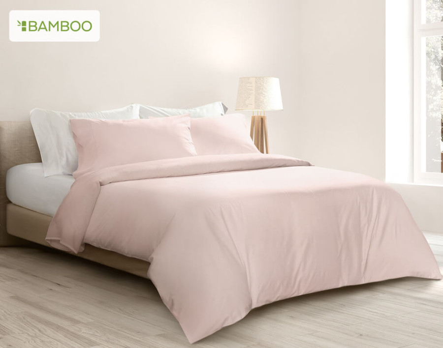 Bamboo Cotton Duvet Cover - Blush