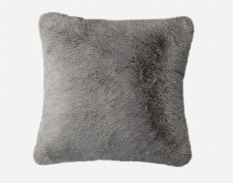 Faux Lambskin Euro Sham in Frost, a shimmery grey.