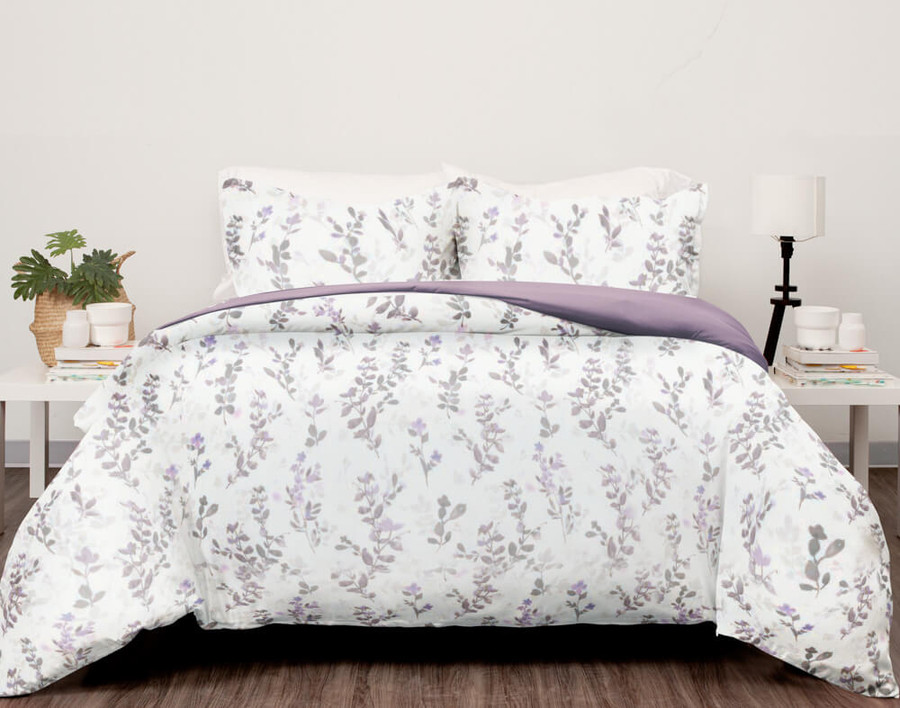Evening Leaf Duvet Cover Set features purple and taupe florals on a white background.