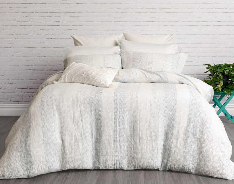 Mimeo Duvet Cover Set in white with blue stripes