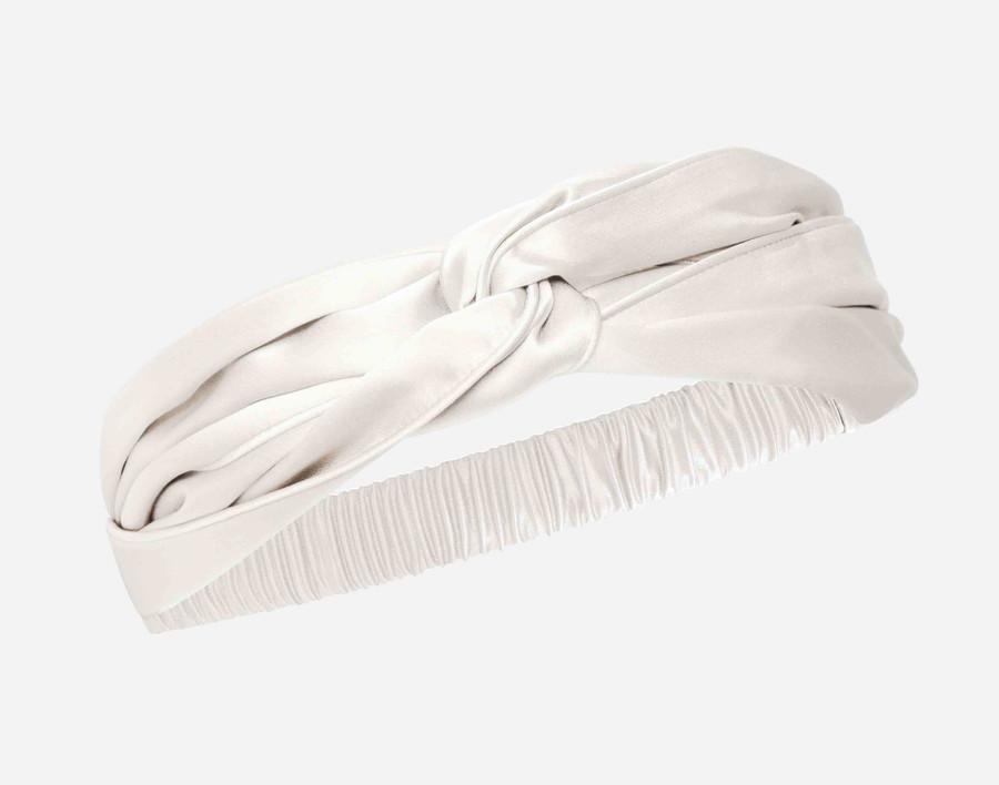 100% Silk Twist Headband in White.