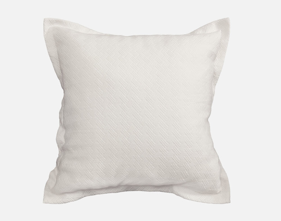 Zen Euro Sham features a white herringbone jacquard and 1 inch flanges.