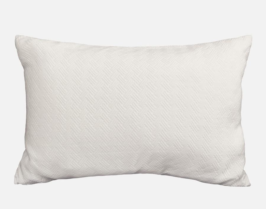 Zen Pillow Sham features a soft white herringbone design on 100% Cotton Jacquard.