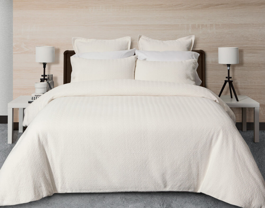 Zen Bedding Collection features a clean soft-white textured herringbone jacquard.