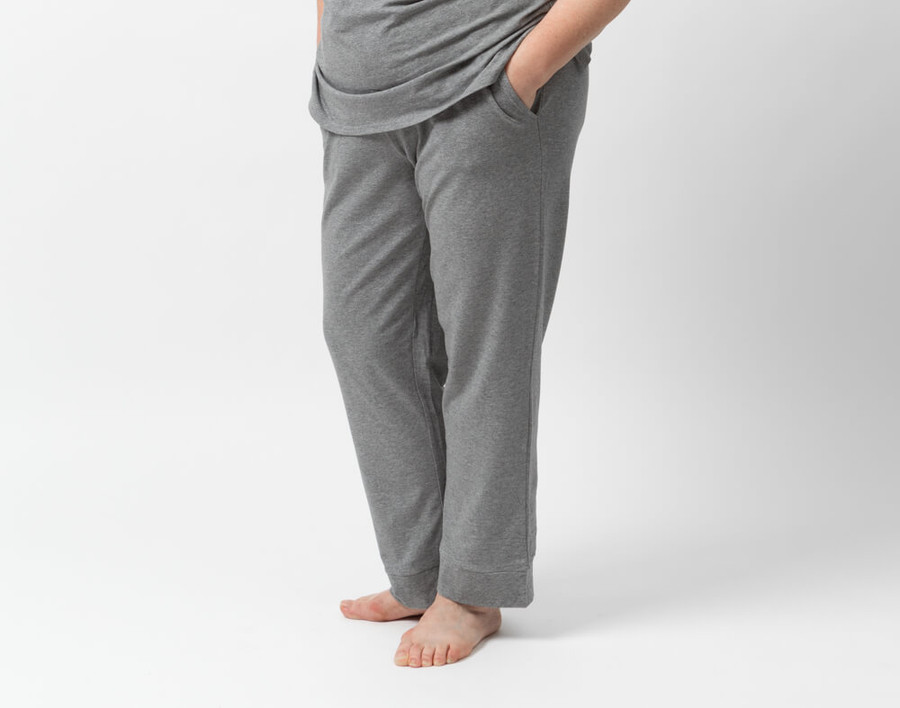 Modal Jersey Lounge Pants in Heathered Grey on model